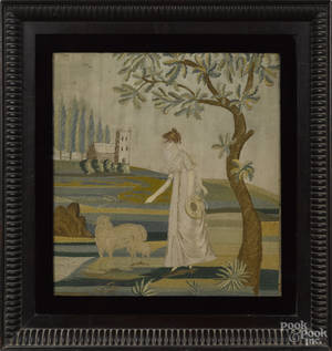 Silk chenille and paint on silk embroidered landscape early 19th c