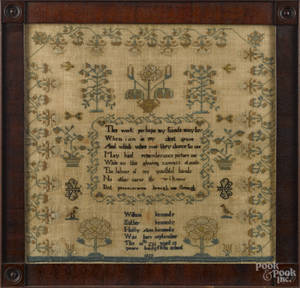 Chester County Pennsylvania silk on linen sampler dated
