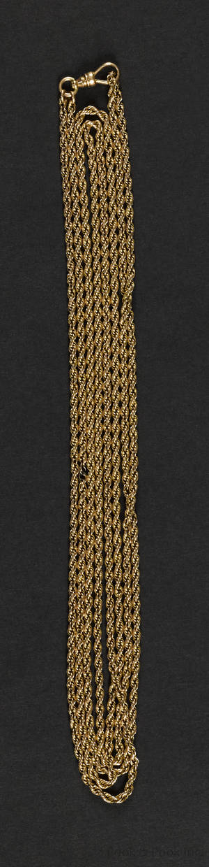 14K yellow gold rope watch chain with a swivel hook