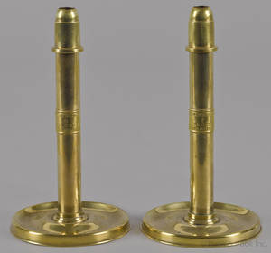 Pair of Philadelphia brass candlesticks mid 19th c