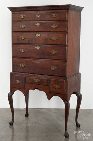 New England Queen Anne maple chest on frame