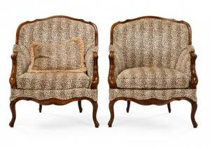 Pair of Louis XV Style Bergeres Marquise 19th C