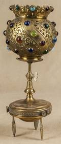 Jeweled brass table lamp