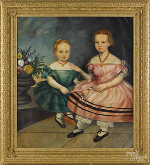 American oil on canvas portrait of two sisters ca 1850