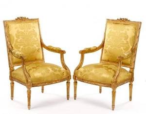 Pair of Louis XVI Style Giltwood Fauteuils 19th C