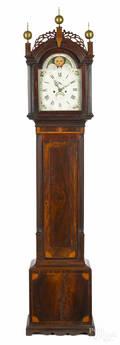 New York Federal mahogany tall case clock ca 1810
