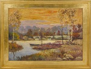 Oil on canvas impressionist landscape