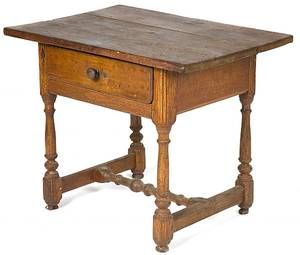 New England pine and walnut tavern table