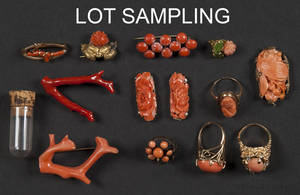 Group of various coral jewelry
