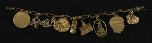 14K yellow gold charm bracelet with nine various gold charms