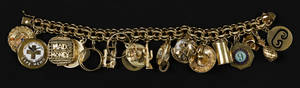 14K yellow gold charm bracelet with twentytwo various gold charms