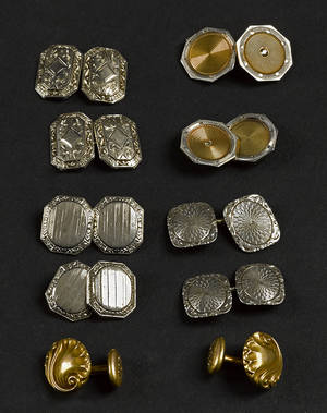 Five sets of 14K yellow and white gold cuff links