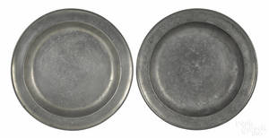 Two Connecticut pewter deep dish chargers