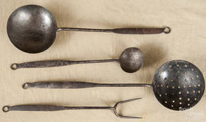Set of four Pennsylvania wrought iron utensils