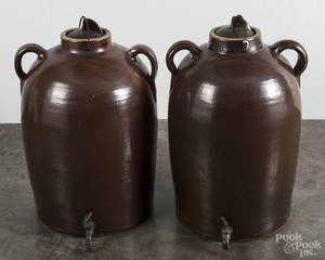 Pair of stoneware water coolers