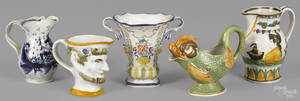 Four English creamware pitchers early 19th c