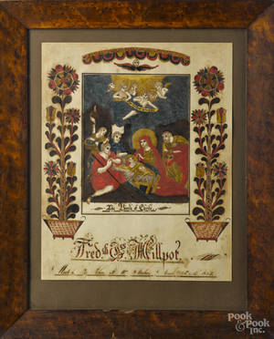 John F W Stahr Southeastern Pennsylvania ink and watercolor fraktur early 19th c