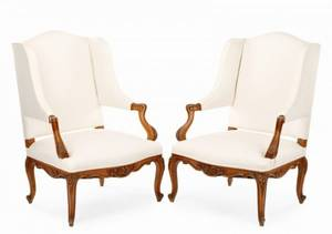 Pair of French Walnut Fauteuil de Commodite
