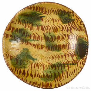 Pennsylvania redware shallow bowl 19th c