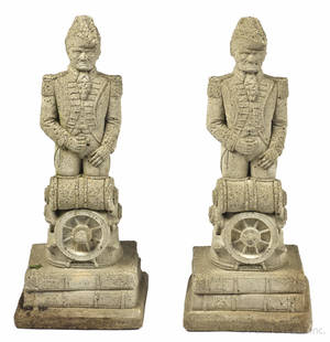 Pair of aggregate garden statues of John Paul Jones