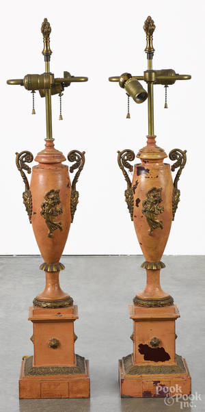 Pair of French painted tin table lamps