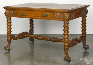 Victorian carved oak library table with barley twist legs and masked figures