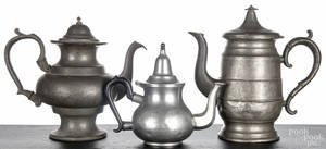 Two Continental pewter coffee pots