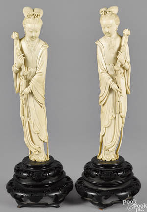 Pair of Chinese carved ivory figures of women 19th c