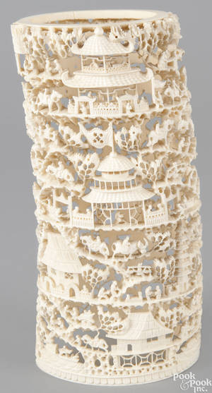 Chinese carved ivory tusk ca 1900