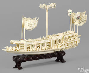 Chinese carved ivory boat ca 1900