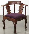 Centennial Chippendale carved mahogany corner chair