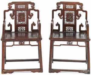 Pair of Chinese carved hardwood armchairs 19th c