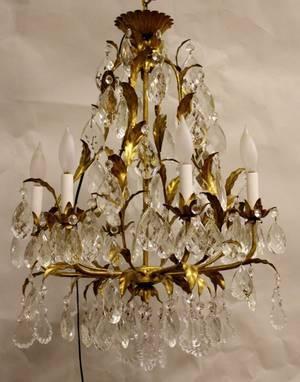 Vintage Italian 6 Light Gilded Chandelier