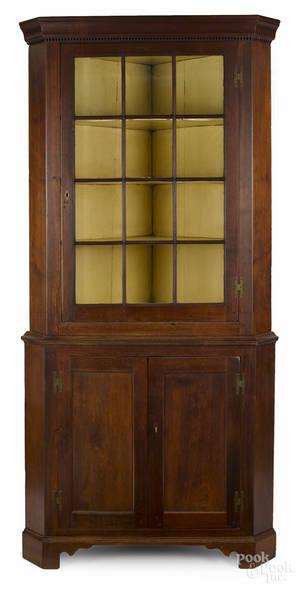 Pennsylvania walnut corner cupboard ca 1800