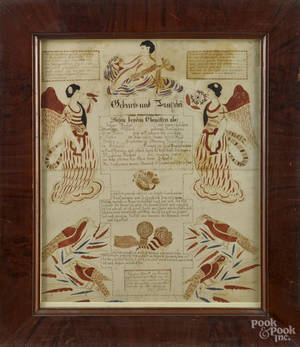 Schuylkill County Pennsylvania ink and watercolor fraktur birth certificate