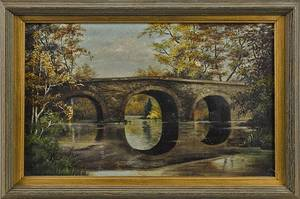 Oil on canvas landscape of Copes Bridge