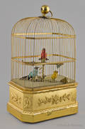 French coin operated bird in cage music box