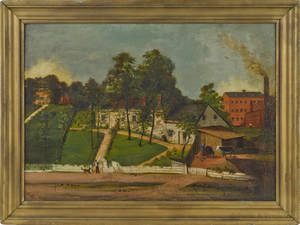American oil on canvas town scene mid 19th c
