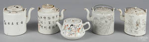 Five Chinese export porcelain teapots
