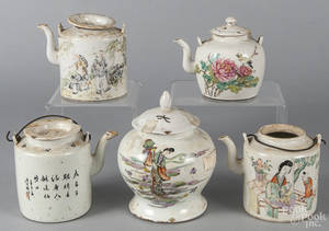 Four Chinese export porcelain teapots