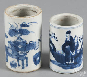 Two Chinese blue and white porcelain brush pots