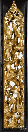 Chinese carved giltwood panel