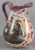 Grays Pottery Sunderland style pitcher with transfer decoration of the ship