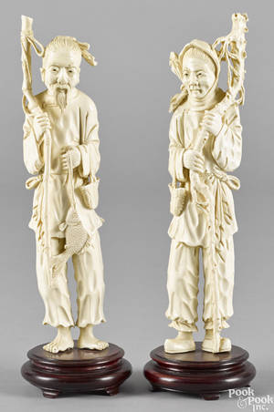 Pair of Japanese carved ivory figures ca 1900 of an elderly man and woman
