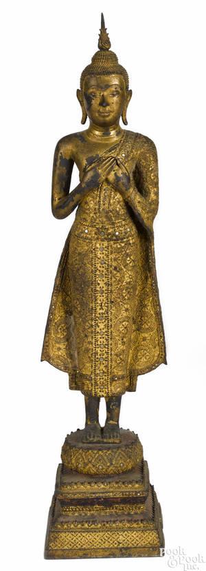 Southeastern Asian gilt bronze figure of Buddha