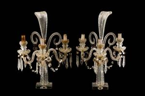 Pair of Crystal And Glass Electrified Girandoles