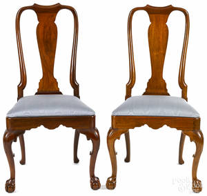 Pair of Kindel Queen Anne style walnut dining chairs
