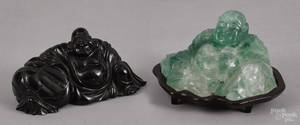 Two Chinese carved stone Buddha