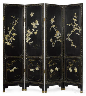 Chinese lacquer fourpanel folding screen