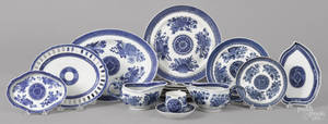 Collection of Chinese export blue Fitzhugh porcelain 19th c